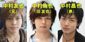 中村倫也と中村友也(兄)と中村昌也(弟)が三人で紛らわしく並んでこっちを見ている画像