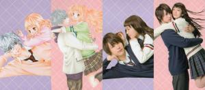中川大志と飯豊まりえが漫画「きょうのキラ君」の抱きついているシーンと同じポーズをしている画像