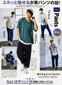 モデル兼俳優の健太郎が男性ファッション誌でコーディネートをしている画像