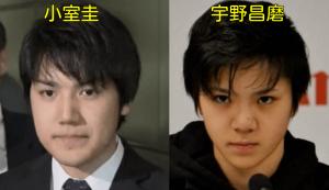 秋篠宮家の長女眞子さまと婚約を発表した小室圭と似てると言われているプロアイススケート選手の宇野昌磨を写真で比べた画像