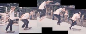 野村周平がスケボーで技を決めている動画の画像