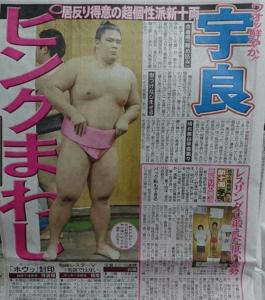 宇良(関取)がピンクのまわしで新聞紙に載った時の写真の画像